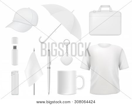 Corporate Identity. Business Souvenir Items Clothes Packaging Stickers Pen Badge Lighter Vector Empt