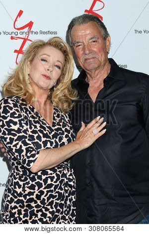 LOS ANGELES - JUN 23:  Melody Thomas Scott, Eric Braeden at the Young and The Restless Fan Club Luncheon at the Marriott Burbank Convention Center on June 23, 2019 in Burbank, CA