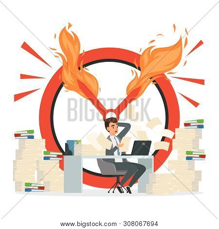 Deadline Vector Concept. Office Manager And Chaos At Work Illustration. Office Employee Hurry At Dea