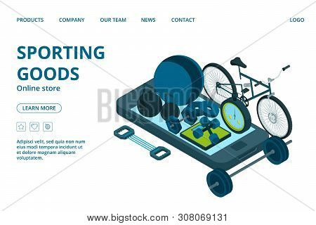 Sporting Goods Online Store Landing Page Template. Vector Isometric Sport Equipment. Illustration Of