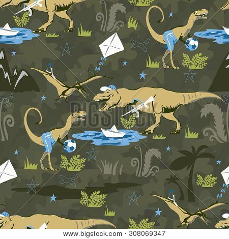 Play Lover Dinosaur Seamless Pattern For Kids Fashion. Childish Background With Cute Dinosaurs.