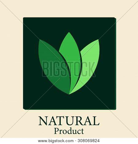 Natural Products Natural.logo Natural Vector, Background Black Rectangular Frame,vector Illustration