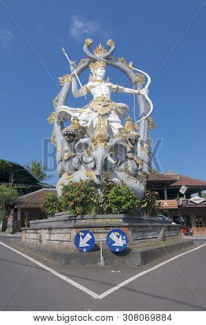 Ubud, Bali, Indonesia - 5th May 2019 : Low Angle View On The Majestic Arjuna Statue Located At The R