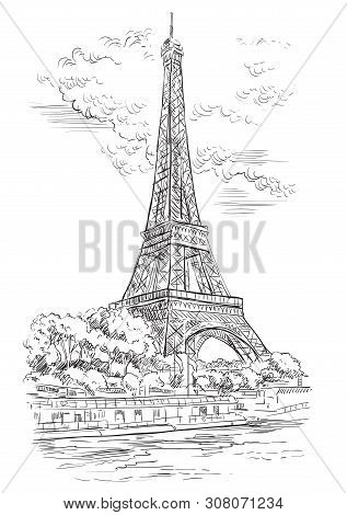 Vector Hand Drawing Illustration Of Eiffel Tower (paris, France). Landmark Of Paris. Cityscape With