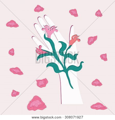Female Hand - A Bouquet Of Abstract Flowers On The Palm - Soaring Roses On A Light Background - Flat