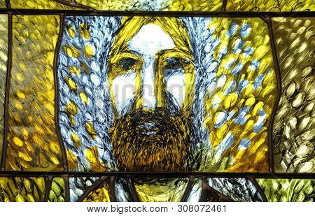 LEUTERSHAUSEN, GERMANY - JULY 05: Eucharist, stained glass window by Sieger Koeder in church of Saint Bartholomew in Leutershausen, Germany on July 05, 2017.