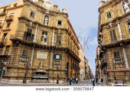 Palermo, Italy - April 27: View Of The Quattro Canti (four Cornes) In Palermo, Sicily, Southern Ital