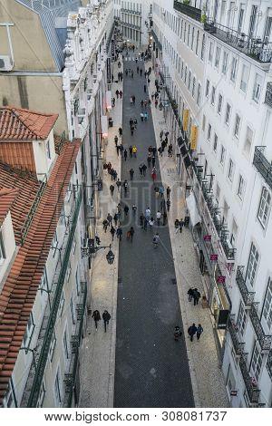 Lisbon, Portugal. April 2018. Panoramic City Street From The Elevator De Santa Justa