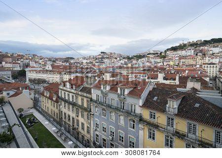 Lisbon, Portugal. April 2018.panoramic City Street From The Elevator De Santa Justa