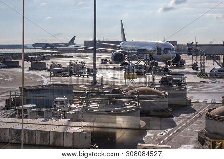Paris, France - November 2, 2018: Boeing 777-300er From Jet Airways Waiting For Departure On Paris R