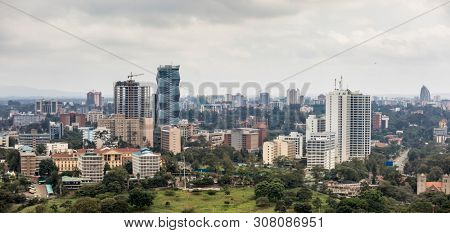 Aerial panorama of downtown Nairobi and the Kilimani area of Nairobi, Kenya.