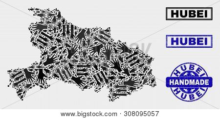Vector Handmade Composition Of Hubei Province Map And Grunge Stamps. Mosaic Hubei Province Map Is Fo