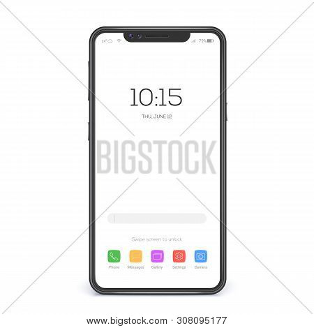 Concept Of Touch Screen Smartphone With Blank Interface. Element Of Interface On Screen Icons And Bu