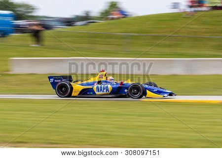 June 23, 2019 - Elkhart Lake, Wisconsin, USA: The NTT IndyCar Series teams take to the track to race for the REV Group Grand Prix at Road America in Elkhart Lake Wisconsin.