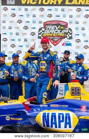 June 23, 2019 - Elkhart Lake, Wisconsin, USA: ALEXANDER ROSSI (27) of the United States wins the REV Group Grand Prix at the REV Group Grand Prix at Road America in Elkhart Lake, Wisconsin.