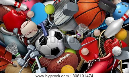 Sports Equipment With A Football Basketball Baseball Soccer Tennis And Golf Ball Including Ping Pong