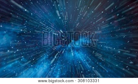 New Large Panoramic Looking Into Deep Space. Dark Night Sky Full Of Stars. The Nebula In Outer Space