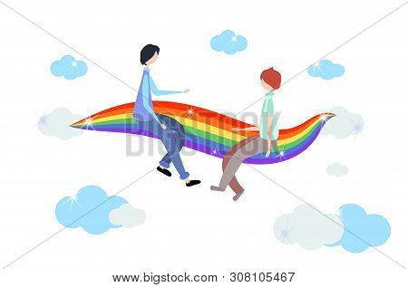 Homosexual Symbols. Two Men Are Sitting On A Rainbow Among The Clouds. Rainbow Striped Coloring In G