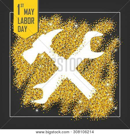 1st May - Labor Day Logo Poster, Banner, Brochure Or Flyer Design With Stylish Text 1st May  -  Labo