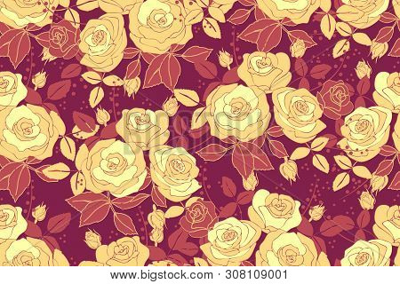 Art Floral Vector Seamless Pattern With Rose. Pale Yellow Roses In Bouquets With Buds And Terracota