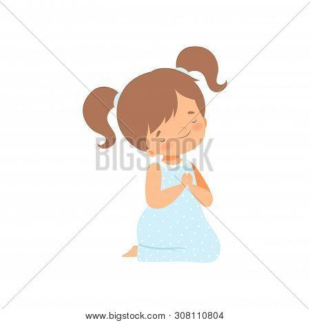 Adorable Little Girl Kneeling And Praying Cartoon Vector Illustration