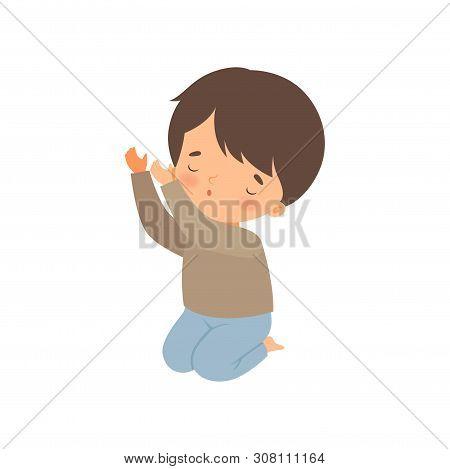 Little Boy Kneeling And Praying Cartoon Vector Illustration