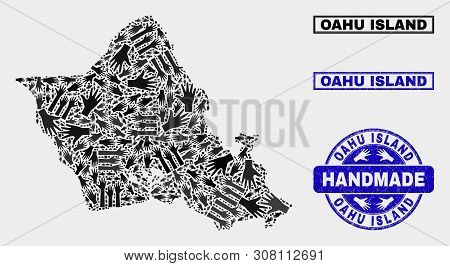 Vector Handmade Collage Of Oahu Island Map And Textured Watermarks. Mosaic Oahu Island Map Is Made O