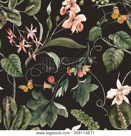 Beautiful Vector Seamless Pattern With Watercolor Exotic Tropical Flowers Palm Tree Leaves Jungle Pl