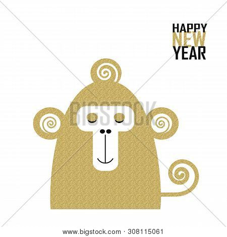 New Year Postcard With Golden Monkey, Year Of The Monkey, Year 2028 Design,  Illustration / Chinese