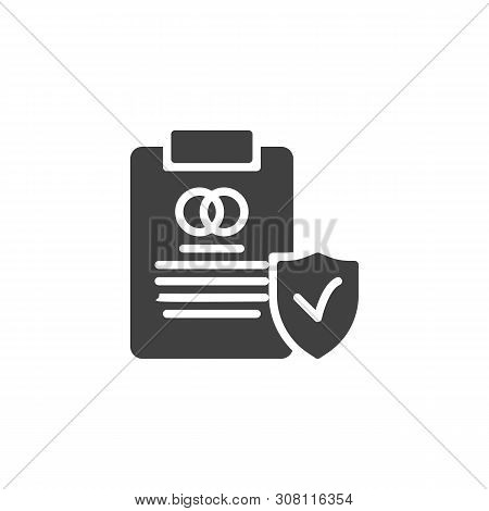 Prenuptial Agreement Document Vector Icon. Couple Divorce Filled Flat Sign For Mobile Concept And We