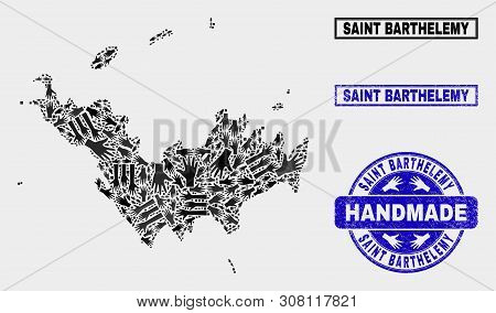 Vector Handmade Combination Of Saint Barthelemy Map And Rubber Seals. Mosaic Saint Barthelemy Map Is
