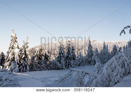Winter Bellow Lysa Hora Hill In Moravskoslezske Beskydy Mountains In Czech Republic With Snow Covere