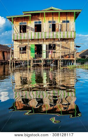 Wooden Floating Houses On Inle Lake In Shan, Myanmar. Inle Lake Is A Freshwater Lake Located In The