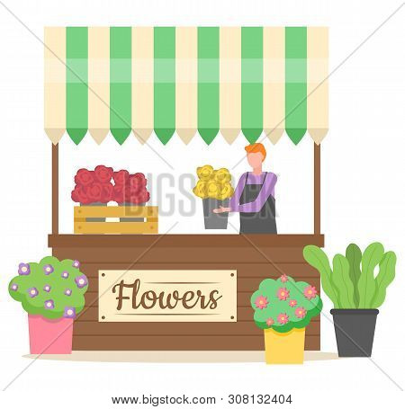 Flower Shop Business Of Person Vector, Salesperson Holding Bouquet Of Eco Pot And Plant Isolated Sto
