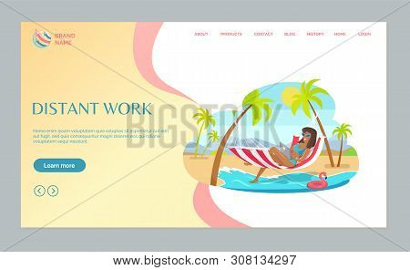 Distant Work Webpage Woman Lying On Hammock With Laptop, Mountain Landscape, Freelancer And Palm Tre