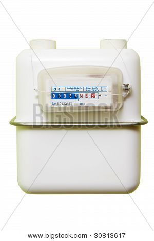 Gas Meter On A White Background