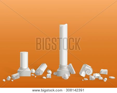Antique Columns Of White Marble Stone Broken On Pieces, Ancient Greek City Or Roman Empire Temple, P