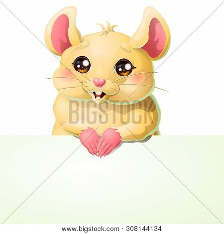 Cute Yellow Mouse And Banner On White