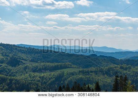 Springtime Beskid Slaski, Slezske Beskydy And Moravskoslezske Beskydy Mountains With Lysa Hora Hill