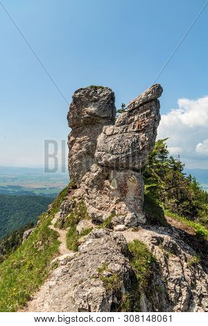 Hiking Trail With Rocks Around Between Ostra And Zadna Ostra Hills Above Blatnicka And Gaderska Doli