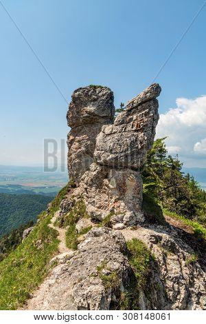 Hiking Trail With Rocks Around Between Ostra And Zadna Ostra Hills Above Blatnicka And Gaderska Doli