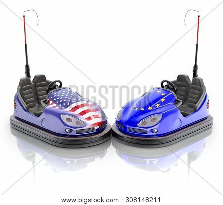 Usa Versus Eu Business Concept With Bumper Cars And Flags - 3d Illustration