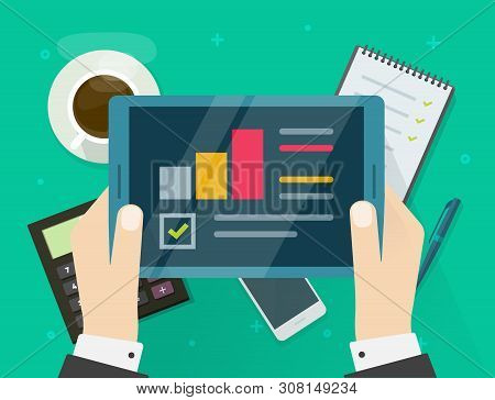 Electronic Audit Research Report On Tablet Vector, Flat Cartoon Person Hands With Tablet And Financi