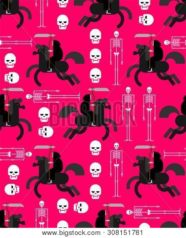 Afterlife Pattern Seamless. Grim Reaper And Skeleton Background. Vector Texture