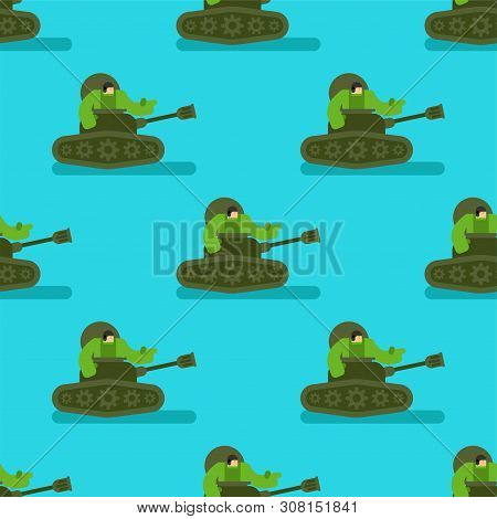 Cartoon Tank And Trooper Pattern Seamless. Childrens Soldier Background. Vector Texture. Weapon Atta