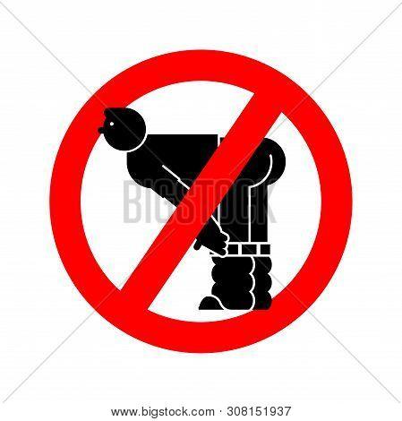 Stop Ass. Red Road Forbidding Sign. Ban Man Show Ass.