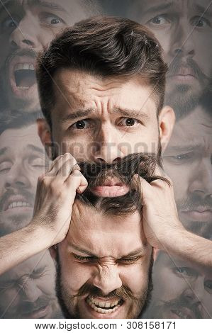 Close Up Shot Of Sad And Angry Emotion On Face Of Discouraged Man. Young Caucasian Male Model Angryi