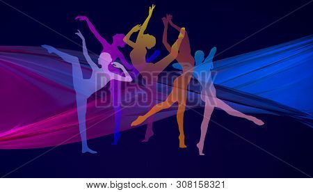 Silhouettes Of Young Graceful Ballet Dancers Or Classic Ballerinas On Dark Neon Background. Womans B