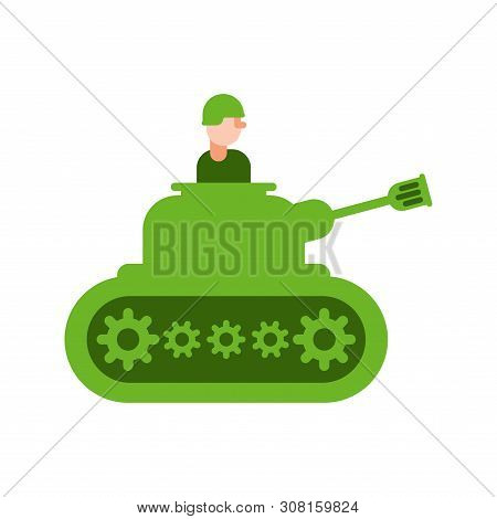 Cartoon Tank And Trooper. Childrens Soldier. Vector Illustration