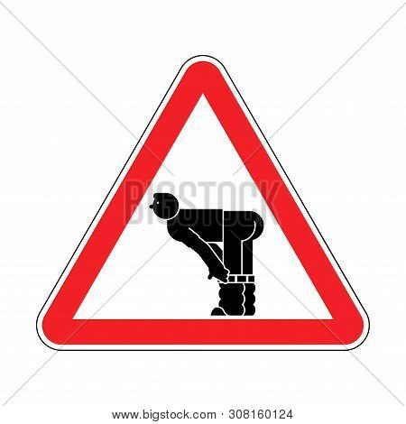 Attention Ass. Warning Yellow Road Sign. Caution Man Show Ass.